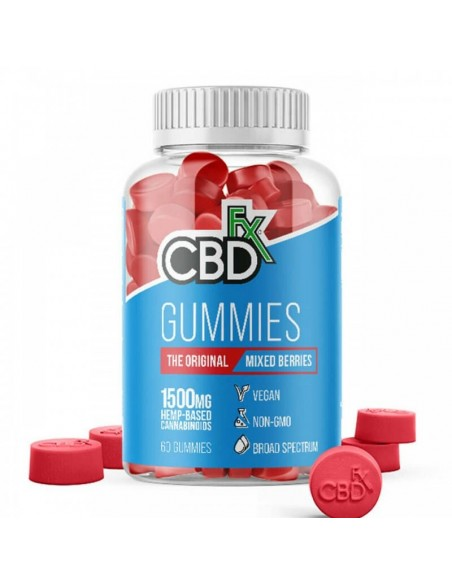 CBDfx Edible CBD Gummies Mixed Berry 60 Count Bottle 1500mg 1pcs:0 US