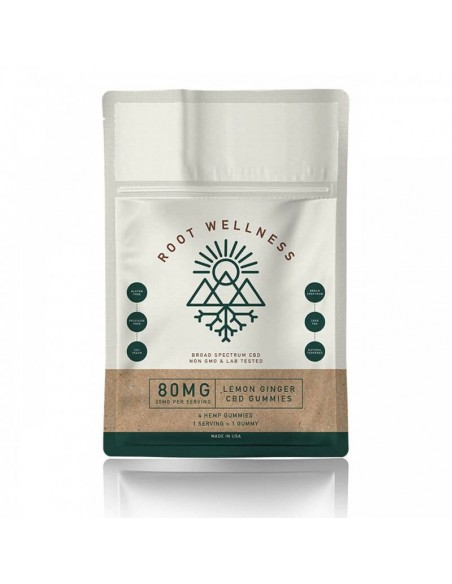 Root Wellness Edible CBD Gummies 4 Pack Pouch 80mg 1pcs:0 US
