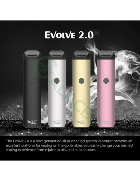 Yocan Evolve 2.0 AIO Pod System Kit For CBD Oil/Wax/E-juice 650mAh 2