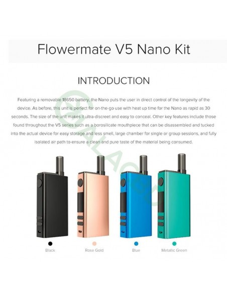 Flowermate V5 Nano 3in1 Dry Herb Vaporizer For Weed/Wax/CBD Oil 18650 2500mAh 2