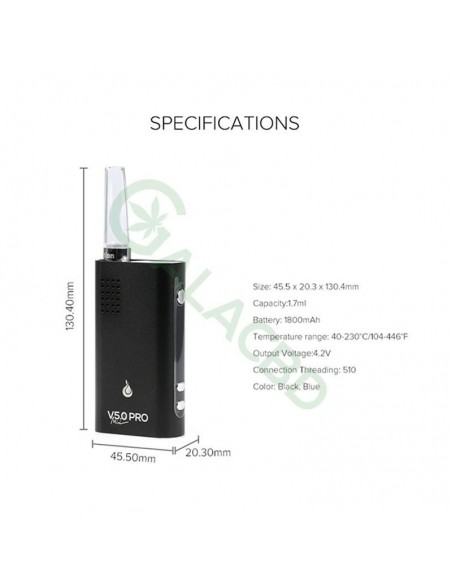 Flowermate V5.0s Pro Mini 3in1 Dry Herb Vaporizer For Weed/Wax/CBD Oil 1800mAh 3