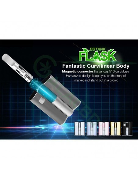 BBTANK Flask 510 Thread Battery For CBD Oil/THC/Wax 200mAh 3