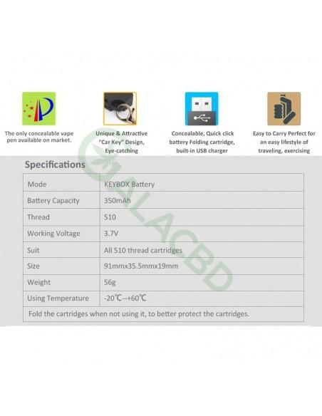 BBTANK Key Pod Box 510 Thread Battery For CBD Oil/THC/Wax 350mAh 2