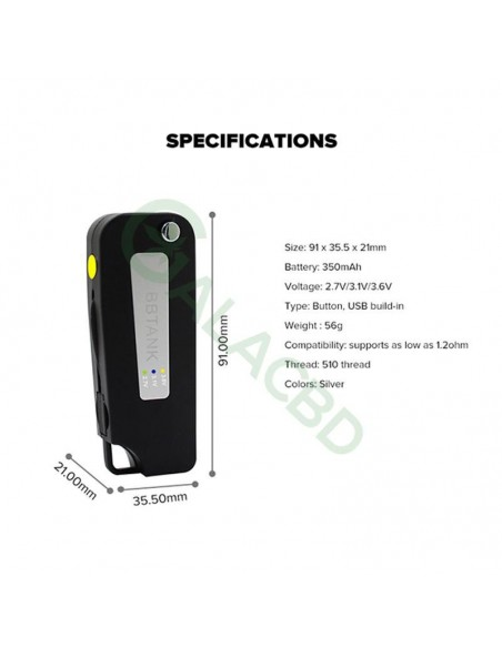 BBTANK Key Box Mod 510 Thread Li-ion Battery Variable Voltage 350mAh 3