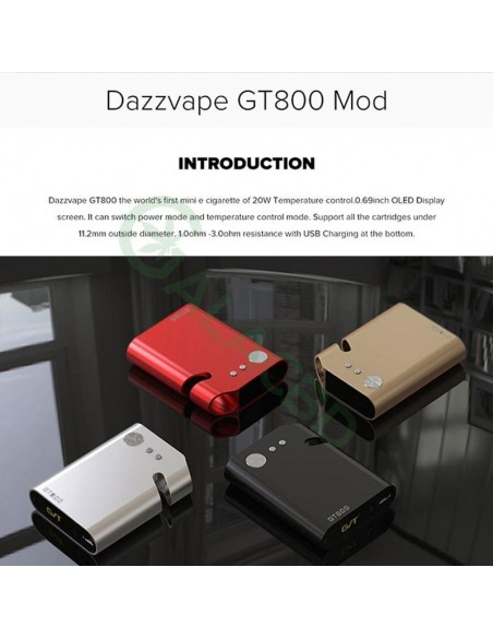 Dazzvape GT800 510 Battery VW/TC Mod For CBD Oil/Wax/Dry Herb 800mAh 2