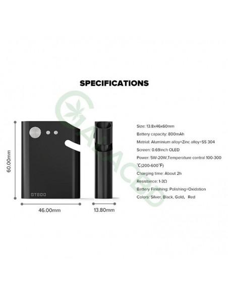 Dazzvape GT800 510 Battery VW/TC Mod For CBD Oil/Wax/Dry Herb 800mAh 3