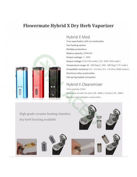 Flowermate Hybrid X 60W TC Dry Herb Vaporizer 510 Thread For Weed/Wax/CBD Oil 1500mAh 2