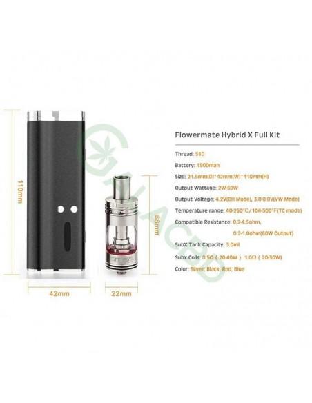Flowermate Hybrid X 60W TC Dry Herb Vaporizer 510 Thread For Weed/Wax/CBD Oil 1500mAh 4