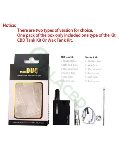 Teslacigs Mini Duo 510 Thread Mod Starter Kit For CBD Oil/Wax/THC 500mAh 1