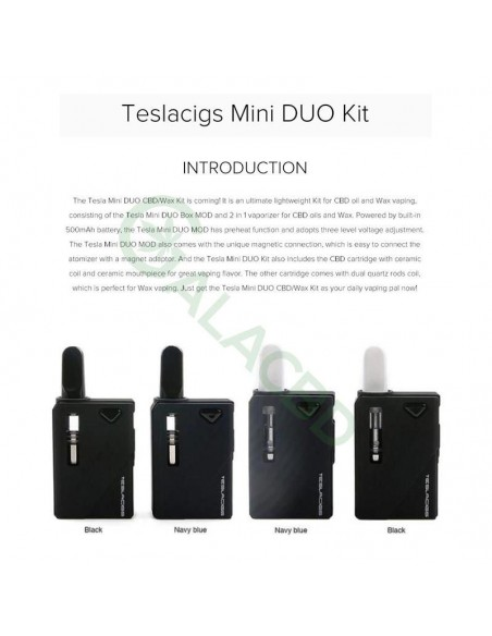 Teslacigs Mini Duo 510 Thread Mod Starter Kit For CBD Oil/Wax/THC 500mAh 2