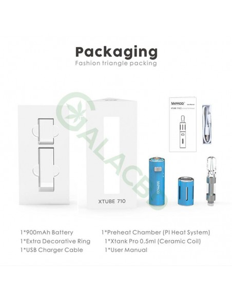 VAPMOD Xtube 710 Vape Pen Starter Kit For CBD Oil/THC/Wax 510 Thread 900mAh 1