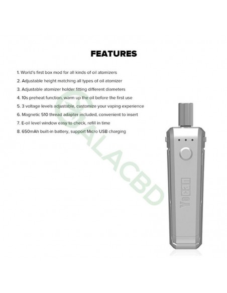Yocan UNI Box Mod Magnetic 510 Thread Battery For CBD Oil/THC/Wax 650mAh 4