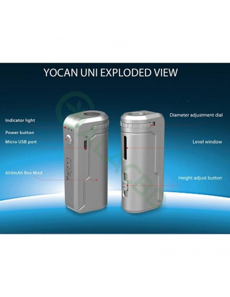 Yocan UNI Box Mod Magnetic 510 Thread Battery For CBD Oil/THC/Wax 650mAh 5