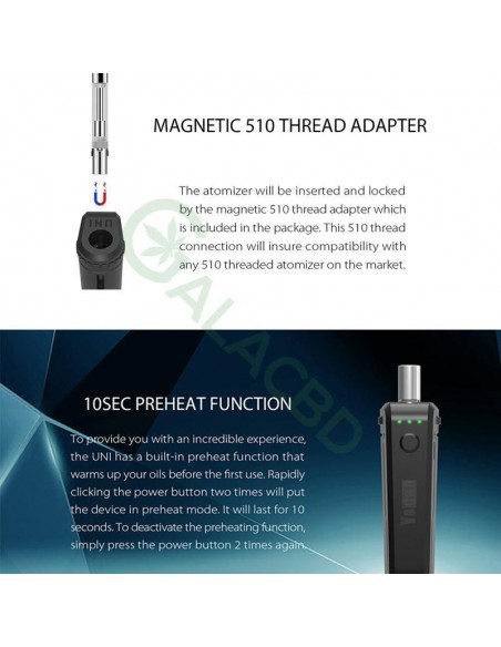 Yocan UNI Box Mod Magnetic 510 Thread Battery For CBD Oil/THC/Wax 650mAh 7
