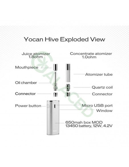 Yocan Hive AIO Mod Starter Kit For CBD Concentrate/E-juice/Oil 650mAh 4