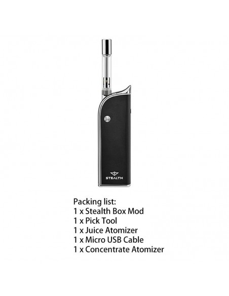 Yocan Stealth 2in1 Vape Kit For CBD Oil/Wax/E-juice 650mAh Black:0 US