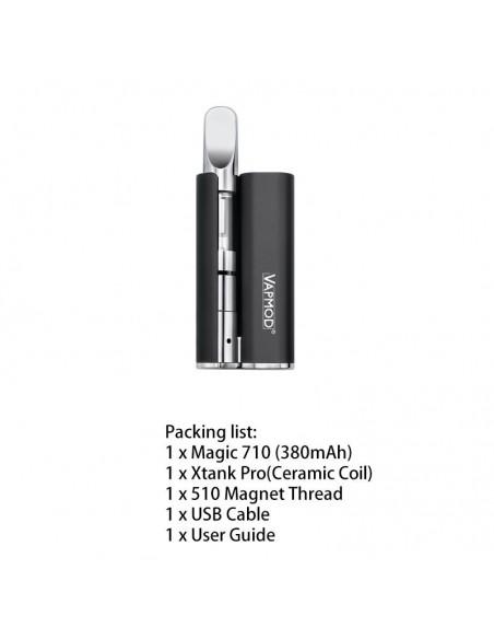 VAPMOD Magic 710 Mod Starter Kit For CBD Oil/THC/Wax 510 Cartridge 380mAh Black:0 US