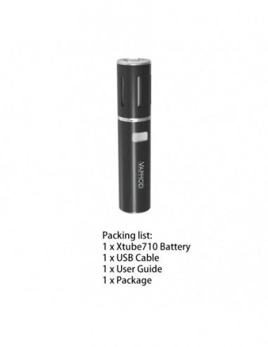 VAPMOD Xtube 710 Pen Battery For CBD Oil/THC/Wax 510 Thread Cartridge 900mAh Black:0 US
