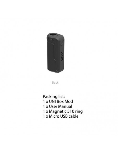Yocan UNI Box Mod Magnetic 510 Thread Battery For CBD Oil/THC/Wax 650mAh Black:0 US