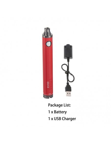 Evod Twist 2 Battery 510 Thread For CBD/E-juice 1600mAh Red With USB Charger 1pcs:0 US