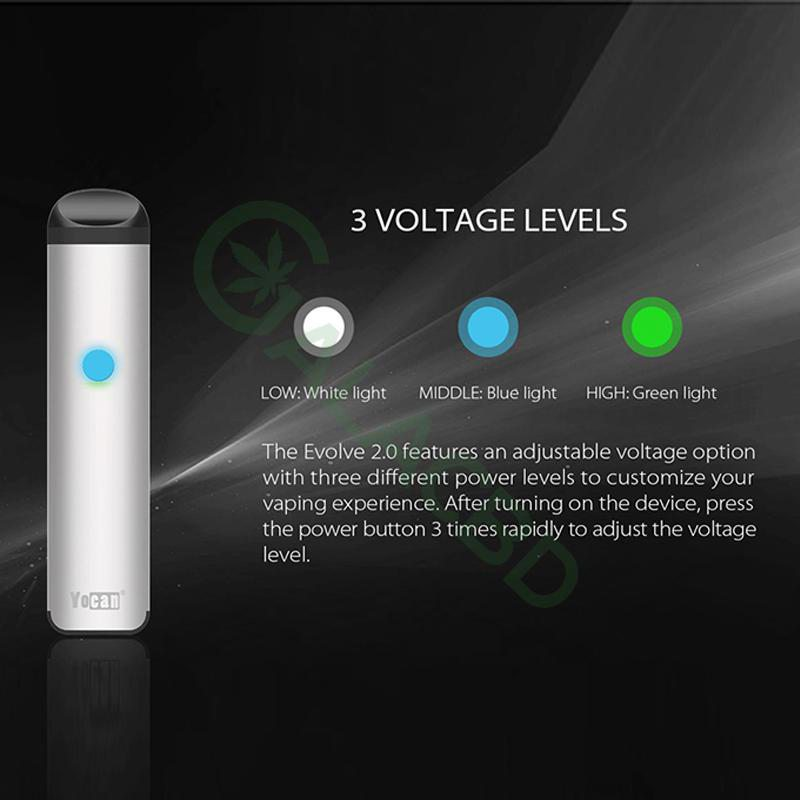Yocan Evolve 2.0 AIO Pod System Kit For CBD Oil/Wax/E-juice 650mAh 4