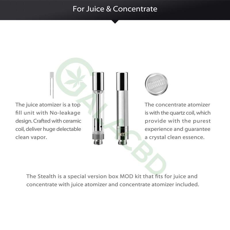 Yocan Stealth 2in1 Vape Kit For CBD Oil/Wax/E-juice 650mAh 2