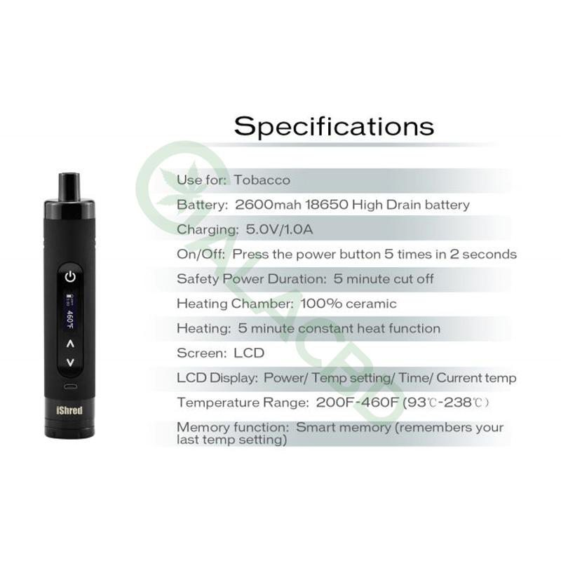 Yocan iShred Dry Herb Vaporizer For Weed/Tobacco 2600mAh 3