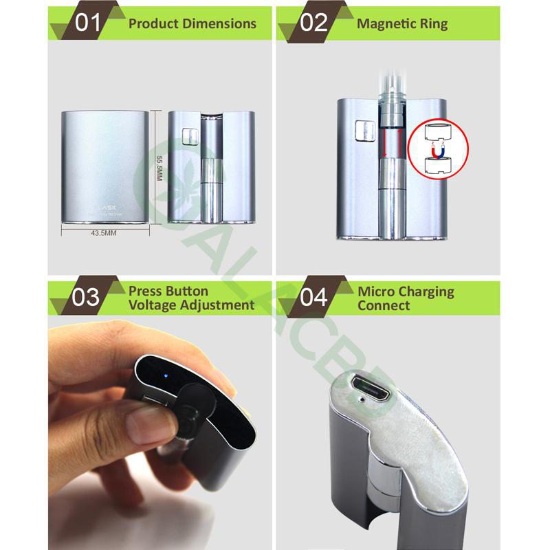 BBTANK Flask 510 Thread Battery For CBD Oil/THC/Wax 200mAh 4