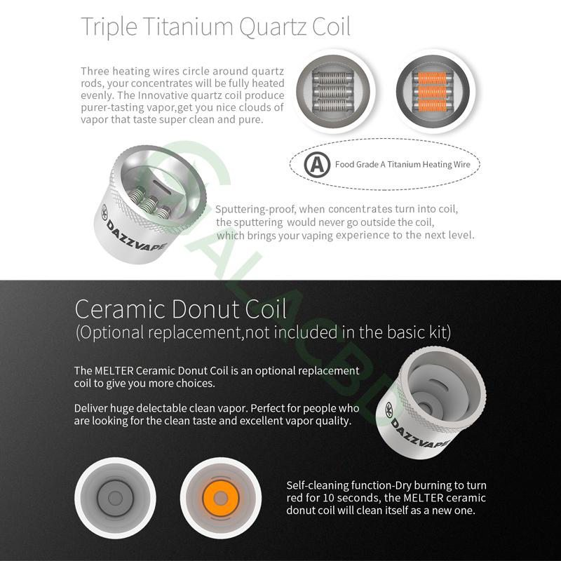 Dazzvape Melter Triple Titanium Quartz Coil For Wax Vaporizer 1