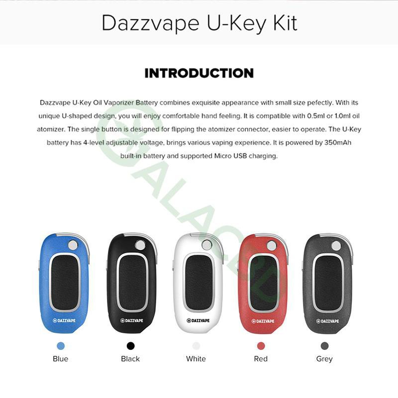 Dazzvape U-Key 510 Thread Battery For CBD Oil/THC/Wax Vaporizer 350mAh 2