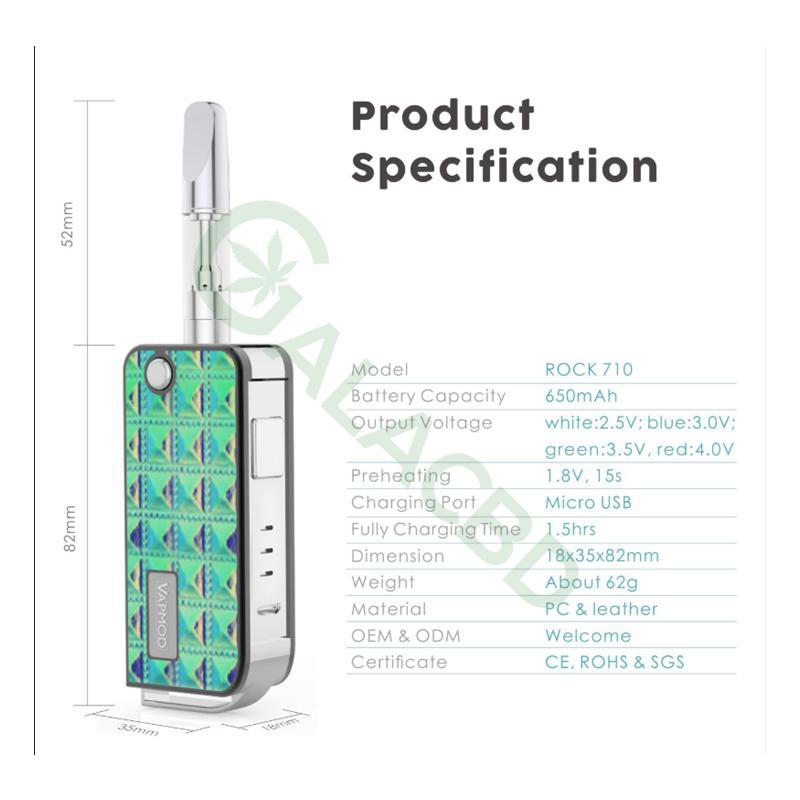 VAPMOD ROCK 710 Mod Battery For CBD Oil/THC/Wax Atomizer 650mAh 2