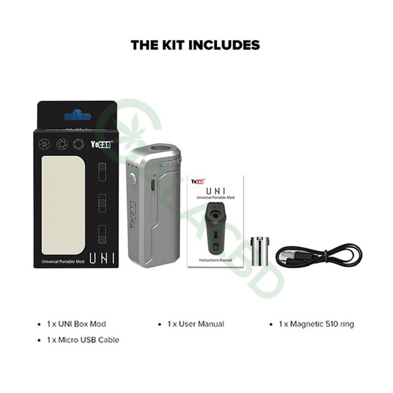 Yocan UNI Box Mod Magnetic 510 Thread Battery For CBD Oil/THC/Wax 650mAh 1