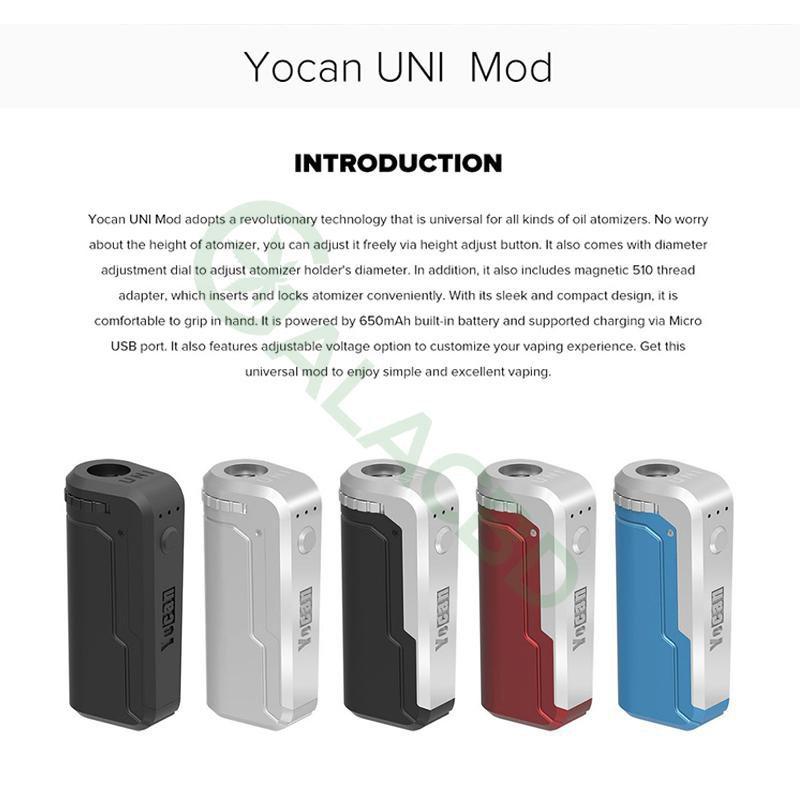 Yocan UNI Box Mod Magnetic 510 Thread Battery For CBD Oil/THC/Wax 650mAh 2